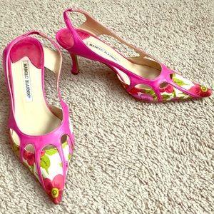 Manolo Blahnik, pink-flower pumps